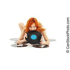 espiègle, roux, vinyle enregistre