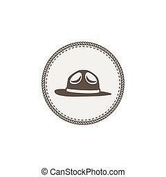 espiar, adesivo, vindima, isolado, ilustração, mão, vetorial, aventura, fundo, design., desenhado, icon., remendo, chapéu, branca, estoque