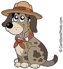 espiar, chapéu, amigável, cão