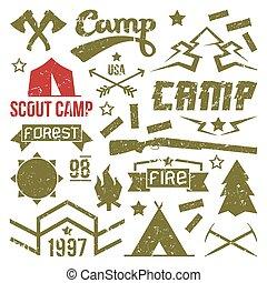 espiar, emblemas, acampamento