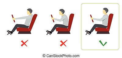 espina dorsal, infographics, vector, driver., correcto, postura