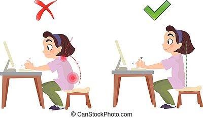 espina dorsal, postura mala, correcto, sentado