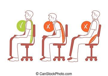 espina dorsal, sentado, correcto, posiciones, postura
