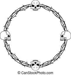 espina, frontera, cráneo