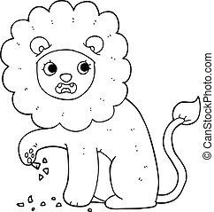 espina, león, negro, pie, blanco, caricatura