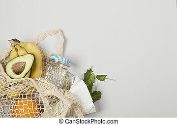 espinaca, aguacate, gris, fondo., naranja, fruta, plátano
