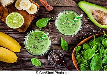 espinaca, Zalamero, sano, aguacate, vidrio, semillas, verde, cal, plátano,  chia, tarros