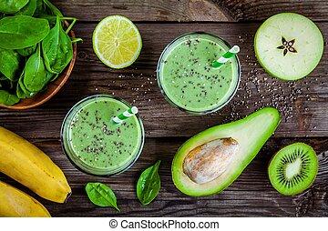 espinaca, Zalamero, sano, aguacate, vidrio, semillas, verde, plátano,  chia, tarros