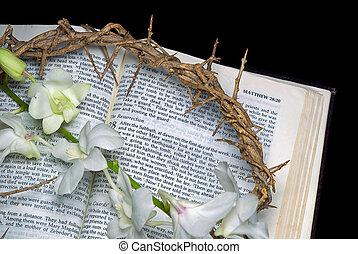 espinas, biblia, corona, santo