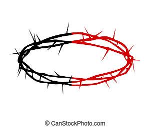 espinas, corona, silueta, negro rojo