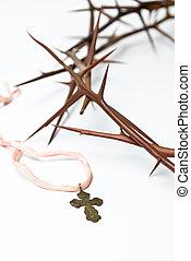 espinas, religión, concept:crown, cruz
