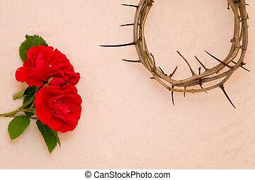 espinas, rosa, corona, rojo