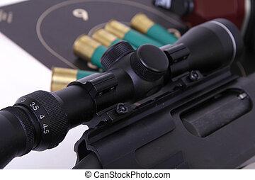 espingarda, rifle, âmbito, alvo, shotshell