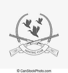 espingardas, pato, caça, ícone