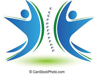 espinha, logotipo, trabalho equipe, human