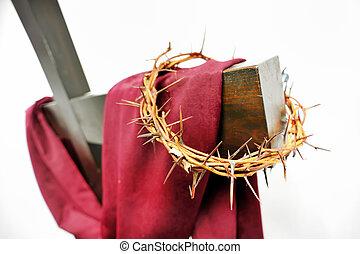 espinhos, coroa, crucifixos