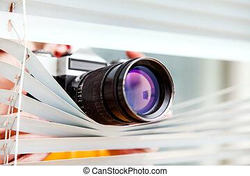 espion, à, a, appareil photo