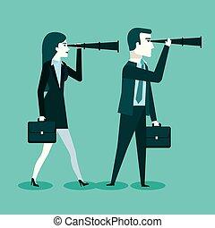 espion, affaires femme, réussi, coopération, homme affaires, lunettes