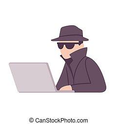 espion, agent, illustration, surveillance