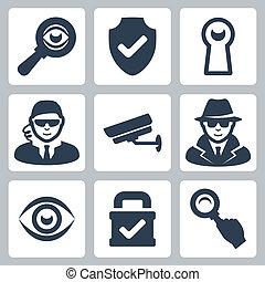 espion, bouclier, heyhole, icônes, serrure, magnifier, espion, surveillance, vecteur, appareil photo, verre, homme sécurité, oeil, set: