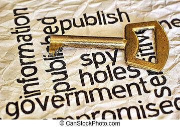 espion, concept, publier, clã©