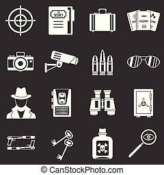 espion, ensemble, icônes, gris, vecteur, outils