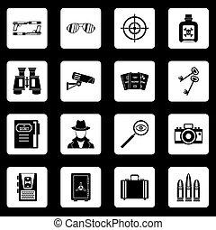 espion, ensemble, icônes, vecteur, carrés, outils