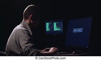 espion, entrer, silhouette, arrière-plan., noir, password.