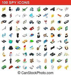 espion, isométrique, icônes, ensemble, style, 100, 3d