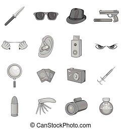 espion, style, icônes, ensemble, noir, monochrome, sécurité
