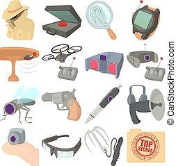 espion, style, icônes, ensemble, sécurité, dessin animé