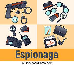 Espionage concept banner, cartoon style - Espionage concept...