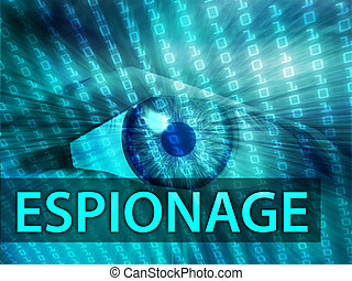 Espionage illustration, eye over digital data information