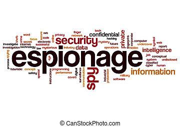 espionagem, palavra, nuvem, conceito