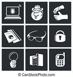 espionnage, vecteur, ensemble, icône