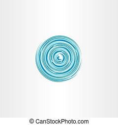 espiral, água, vórtice, vetorial, círculo, ícone