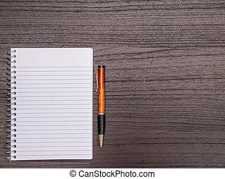 espiral, caneta, madeira, caderno, escrivaninha, desktop