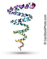 espiral, de, borboletas