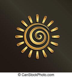 espiral, dourado, sol, image., conceito, de, verão, luxo, happiness.