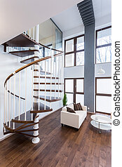 espiral, escadas, em, luxo, mansão