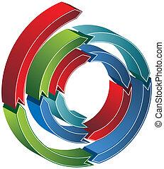espiral, flecha, 3d
