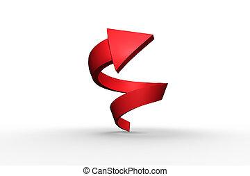 espiral, flecha, rojo