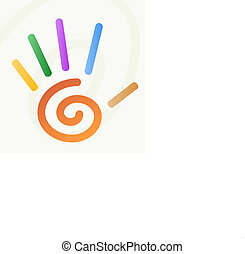 espiral, mão, dedos