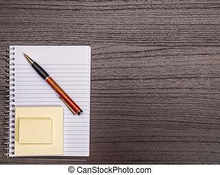 espiral, notas, escrivaninha, pegajoso, caneta, caderno