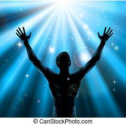 espiritual, hombre, con, armamentos levantaron, arriba, concepto