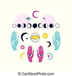 espiritual, jogo, místico, mãos, esotérico, mágico, isolado, elementos, fundo, doodle, branca