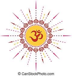 espiritual, om, 00034, ilustración, rojo, irradiar, 1