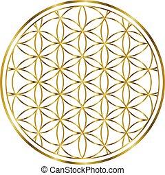 espiritual, ouro, 00032, ilustração, vida, 1, flor