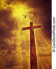 espiritual, resumen, fondos, contra, dramático, cielos