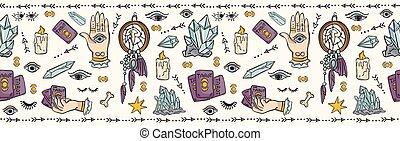espiritual, ser, bien, seamless, símbolos, vector, frontera